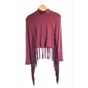 Akira Western fringe burgundy crop top